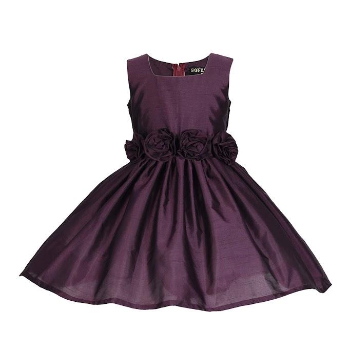 Sofyana Polyester Row Silk Baby Girl's Princess Frocks_S_D_123_Navy Blue