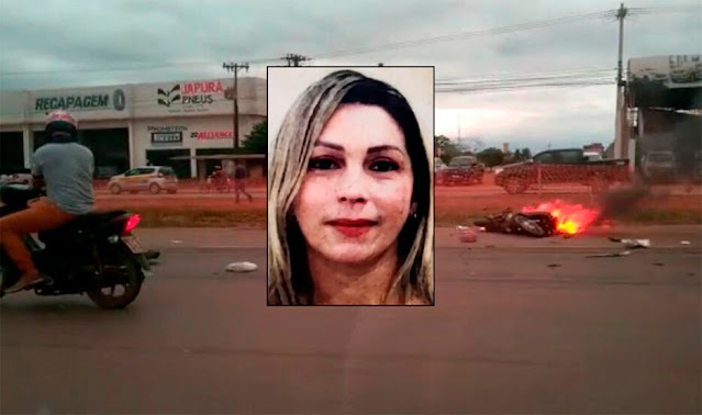 Motociclista é atropelada e morre na BR-364 em Porto Velho; moto pegou fogo