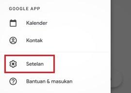 lokasi menu setting pada aplikasi Gmail