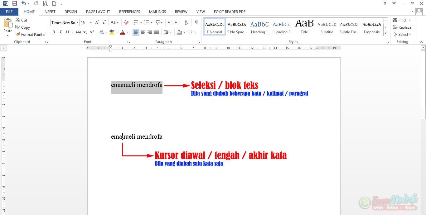 Cara menyeleksi teks yang diubah menjadi huruf besar atau huruf kecil di word