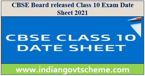 10 Exam Date Sheet 2021