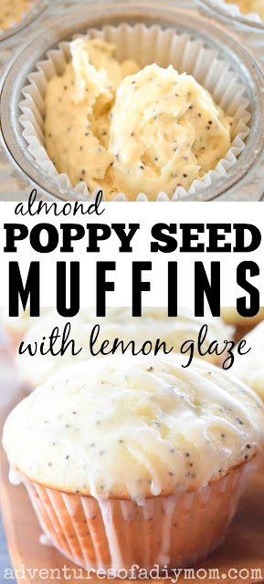 collage of almond poppy seed muffin with glaze and muffin batter in a muffin tin