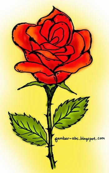 Bunga Mawar Contoh Gambar Mewarnai