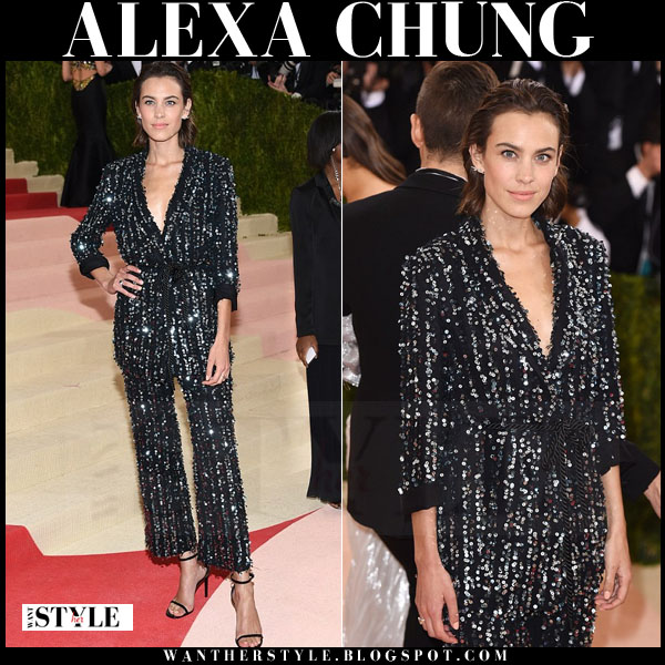 Alexa Chung in black seqined tuxedo suit thakoon at the Met Gala 2016 what she wore red carpet
