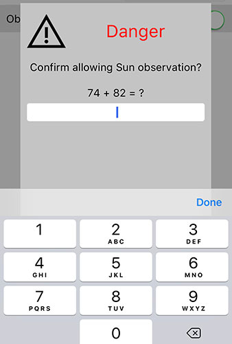 iPhone Sky-Watcher control app has math quiz to enter sun pointing mode (Source: Palmia Observatory)