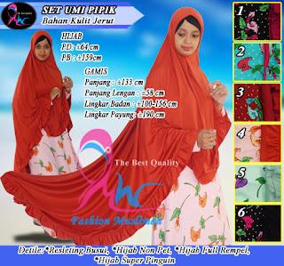 Gamis syar'i terbaru ummi pipik set hijab syar'i panjang belakang