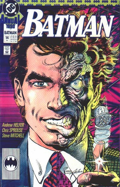 "Two-Face in Batman Annual #14 - The Eye of the Beholder"" in 1990"