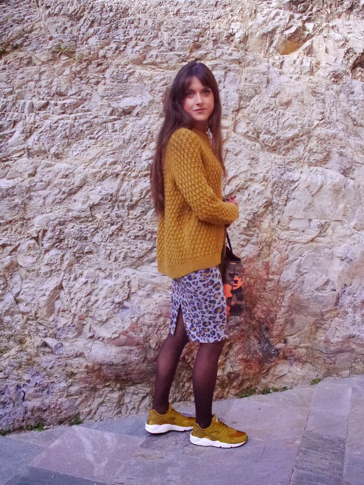 3b0ecdf94d244 Fashion Musings Diary  Mustard Sweater and Nike Huarache Bronzine