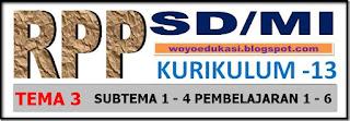 RPP KURIKULUM 13 SD/MI KELAS I TEMA 3 SUBTEMA 1 - 4  PEMBELAJARAN 1 - 6 REVISI 2017