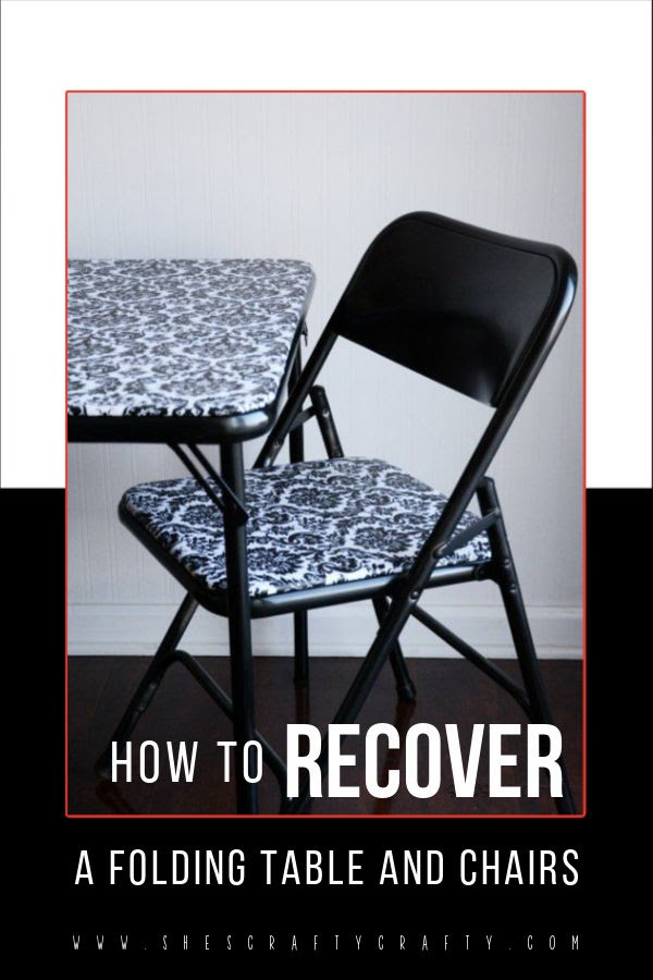 how to update and recover an old folding table and chairs - card table makeover