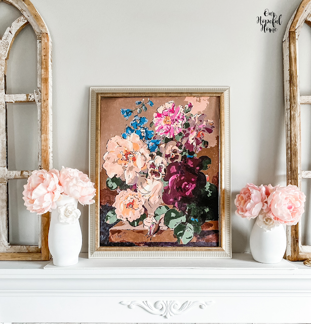 floral painting mantel vases peonies arches