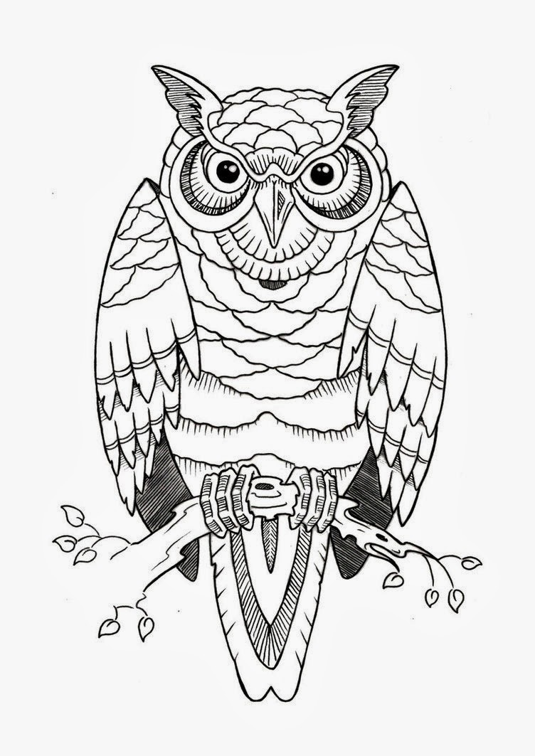 Owl on tree branch tattoo stencil