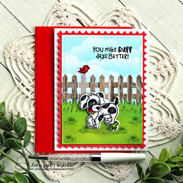 Ruff Days Better Dog Friendship card by Larissa Heskett | Puppy Friends Stamp Set, Fence Die Set, Framework Die Set, Land Borders Die Set and Clouds Stencil by Newton's Nook Designs #newtonsnook
