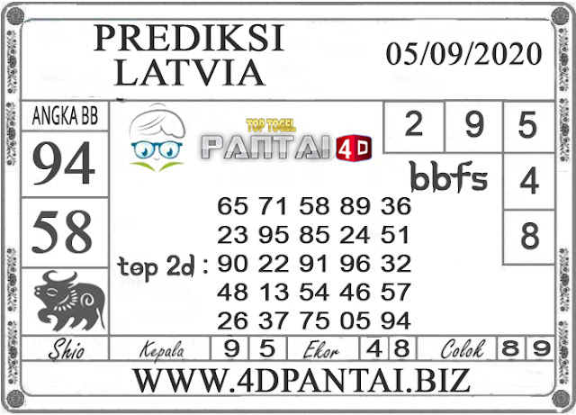 Prediksi Togel LATVIA PANTAI4D 05 SEPTEMBER 2020