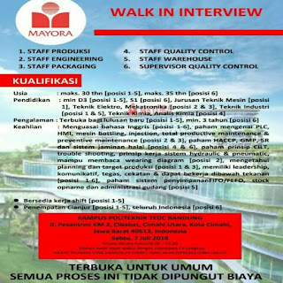Karir Lowongan Kerja PT Mayora Bandung Cianjur Cimahi Terbaru  2020