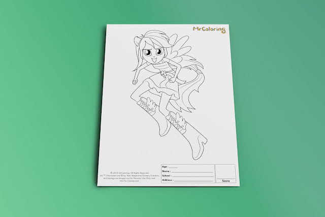Printable My Little Pony Rainbow Dash Equestria Girls Coloriage Outline Coloring Page pdf For Girls Kids Kindergarten Preschool Teens coloring sheet