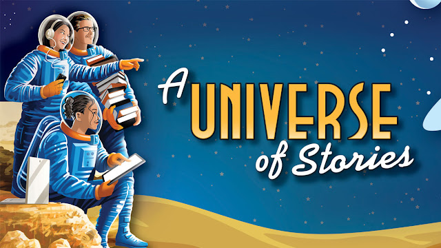 A Universe of Stories - artwork with teen astronauts with books and devices on the surface of the moon