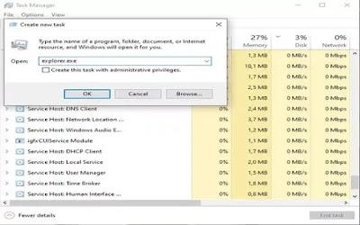Memperbaiki file explorer melalui task manager