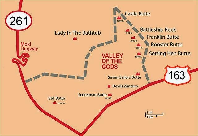 valley gods utah map