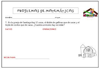 Problemas de Matemáticas: Suma y resta - Tercer grado