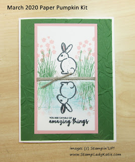 Vertical reflection card made with the rabbit bunny from the March 2020 Paper Pumpkin Kit: No Matter the Weather