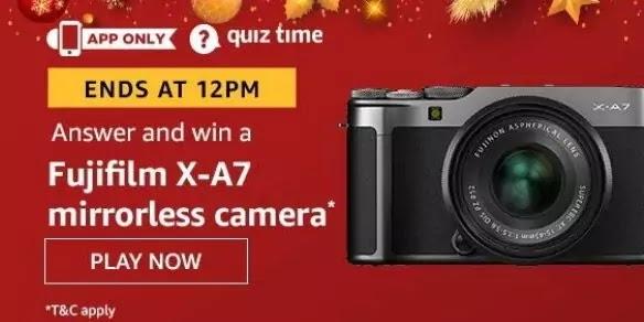 अमेज़ॅन क्विज़ उत्तर अभी जीते 21st अगस्त 2020 - Fujifilm X-A7 Mirrorless Camera