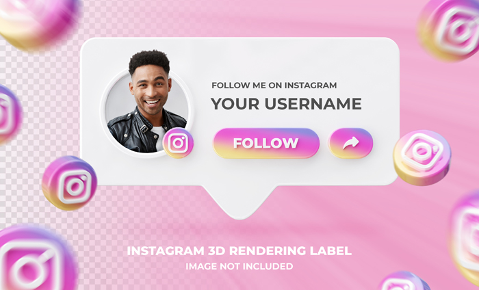 Banner Icon Profile On Instagram 3D Lendering Label Template