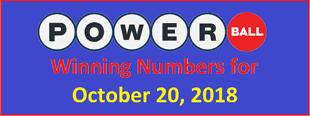 PowerBall Winning Numbers for Saturday, 20 October 2018