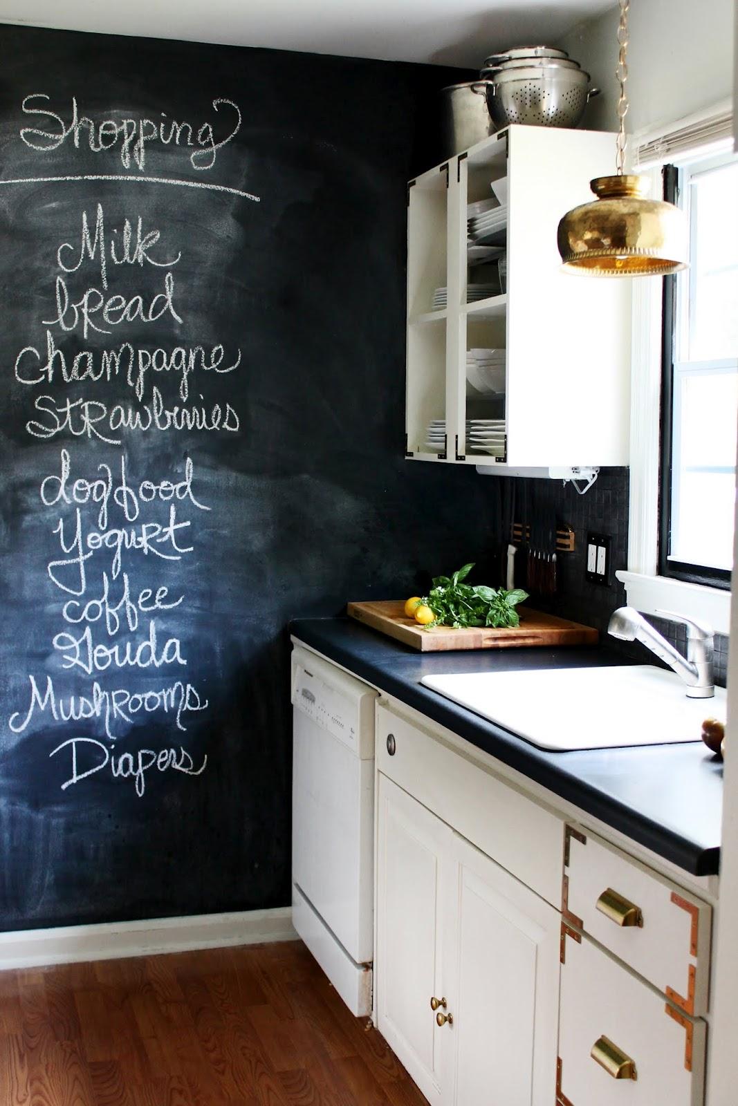 Chalkboard In Kitchen King Cabinets Hunted Interior Diy Brass Bowl Pendant 43 Sneak Peek