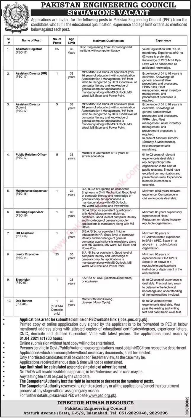 Latest Jobs in Pakistan PEC Jobs 2021 | Apply Online