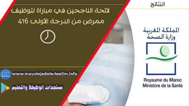 عاااجل/ وزارة الصحة لائحة الناجحين في مباراة لتوظيف 416 ممرض من الدرجة الأولى