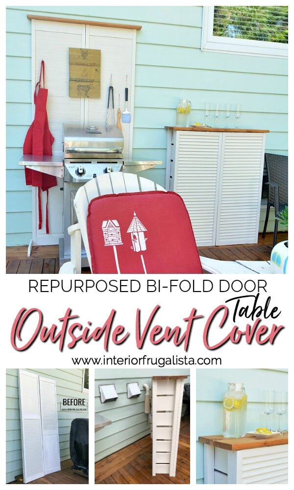 How to hide unsightly outdoor house vents with repurposed wooden louvered bifold doors into a DIY outdoor bar table plus BBQ grilling utensil holder. #houseventcover #diyoutdoorfurniture #repurposedbifolddoor #repurposedlouvereddoor #diyoutdoorbartable
