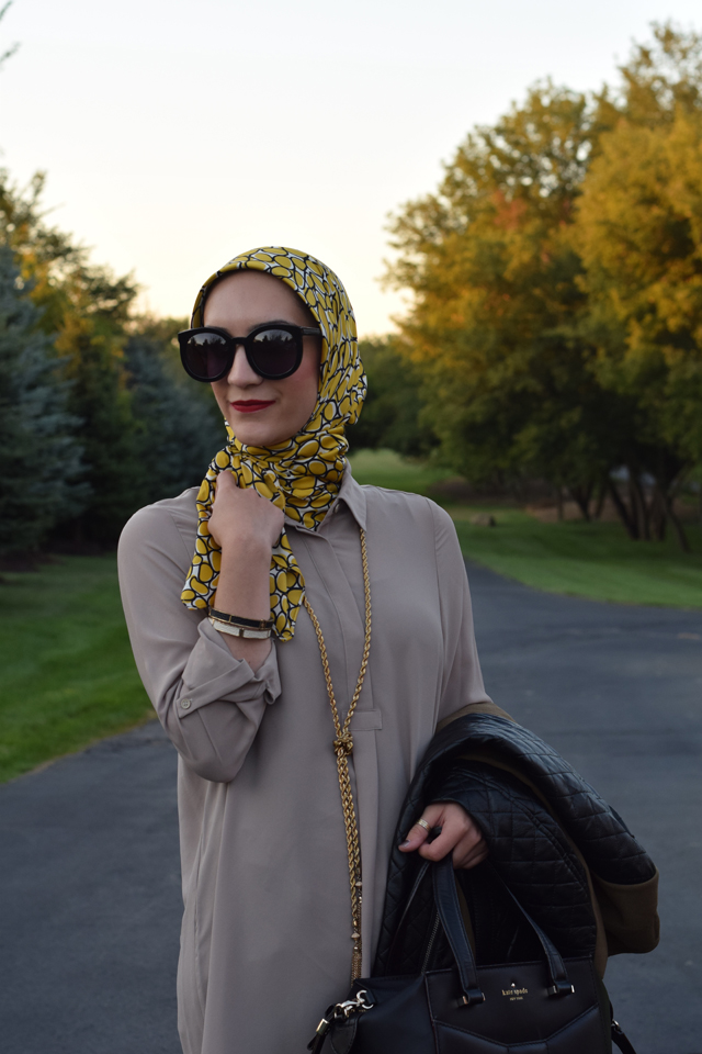 A Day In The Lalz; Fall Fashion; Leather Sleeve Olive Coat; Haute Hijab; Bauble Bar Iced Lariat Pendant; Fashion Blogger; Modest Style; Karen Walker Super Dupe Sunglasses; NARS Audrey Lipstick; Kate Spade Beau Bag