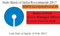 State Bank of India Recruitment 2017 –Senior Manager Officer