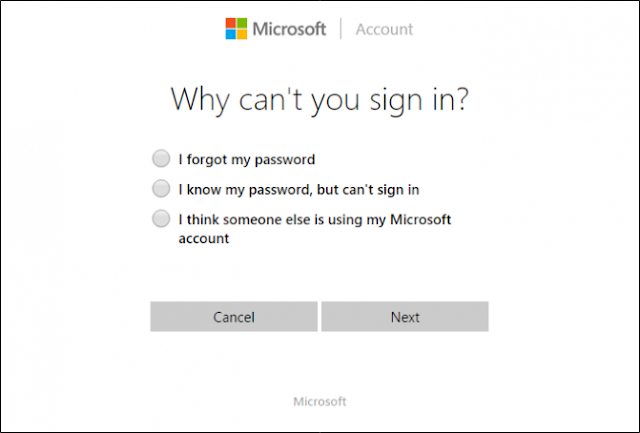 reset password windows lewat live