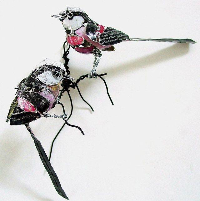 Manualidades con material reciclado pájaro hecho con latas