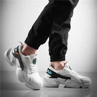 Men Trendy Sneakers Summer New Casual Shoes-Black And White