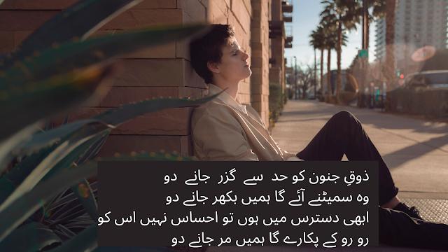 Sad shayari - 4 lines sad urdu poetry -  sad love shayari Zoq e junoon ko had se guzar janay do