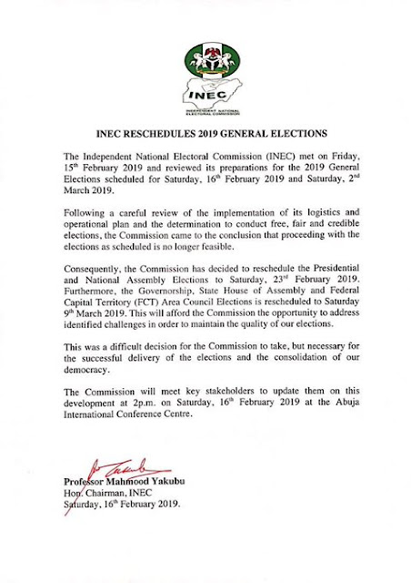 INEC Official Statement