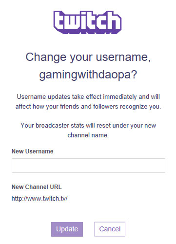 Twitch: Name changing option is available now on Twitch!
