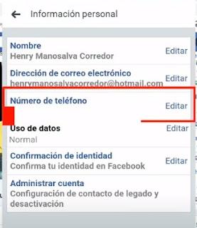 editar o cambiar el numero de contacto en facebook es muy fácil