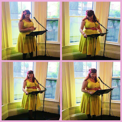 bridget eileen plus size pinup pagan poet in providence reading at the boston poetry marathon 2017
