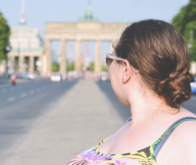 Tourist at the Brandenburg Gate