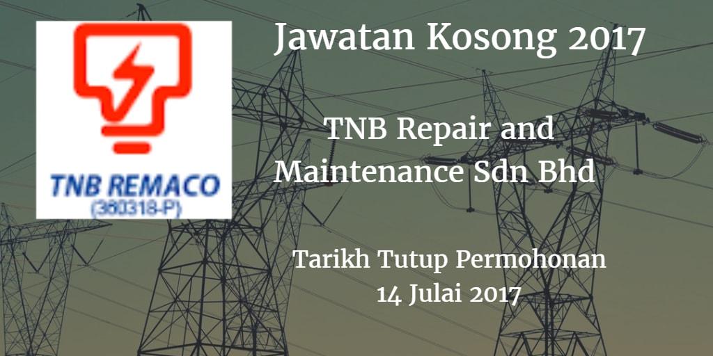 Jawatan Kosong TNB Repair and Maintenance Sdn Bhd 14 Julai 2017