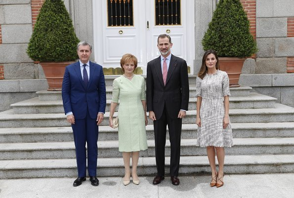 Queen Letizia wore Adolfo Dominguez multicolor tweed dress and Magrit pumps. Madrid 2018 Book Fair at the Retiro Park. Queen Sofia of Spain