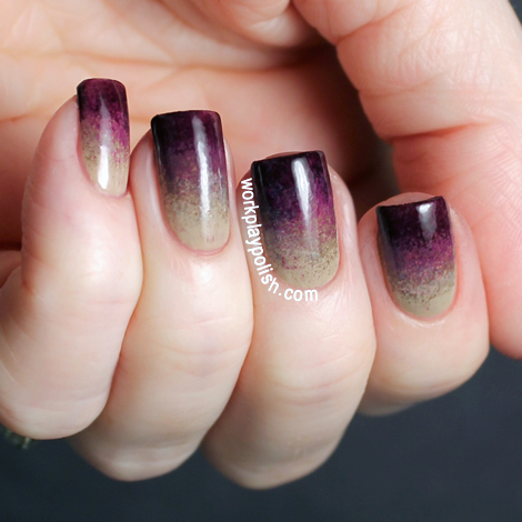 Taupe and Berry Gradient Nail Art