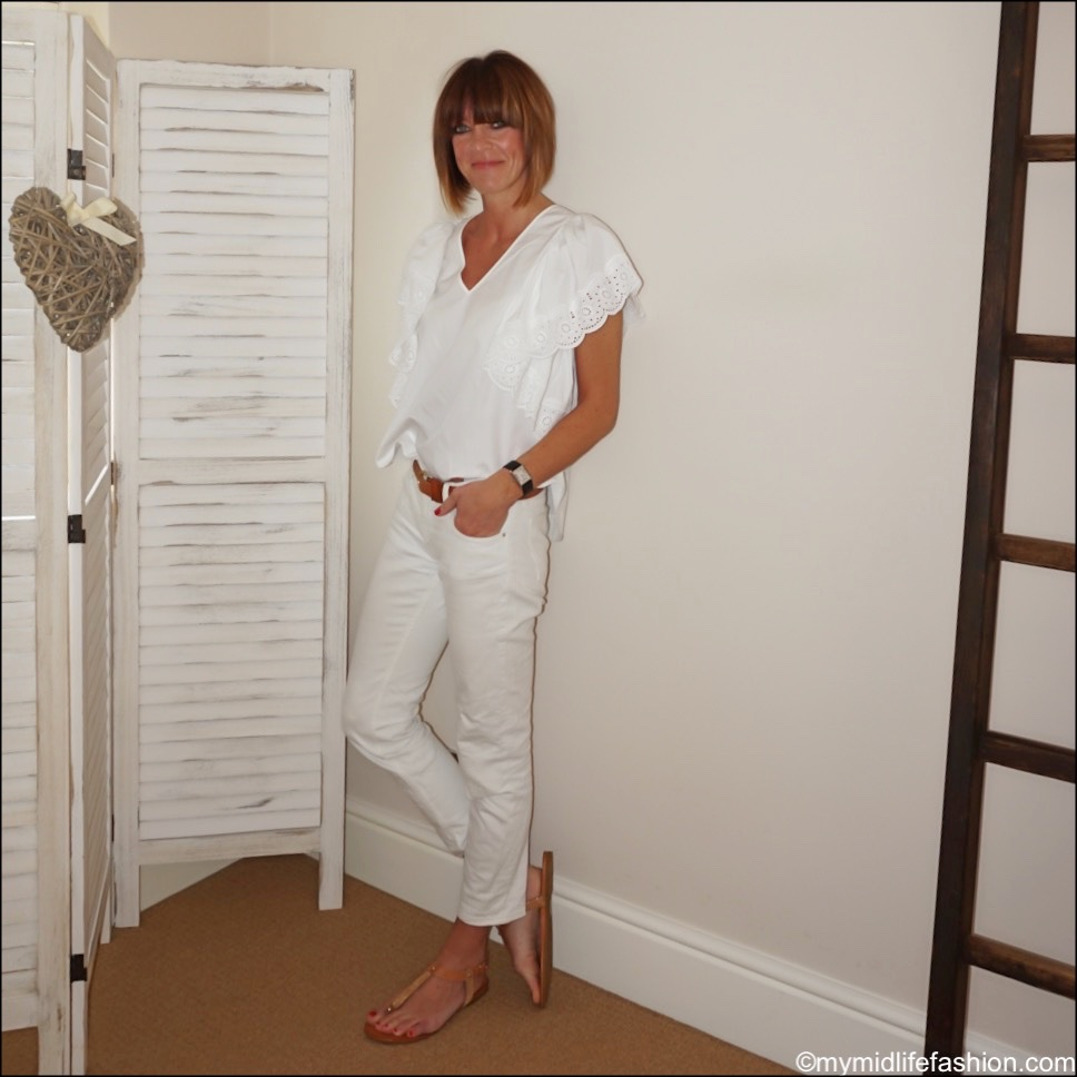 my midlife fashion, see by Chloe broderie blouse, carvela koncert sandals, Zara cropped cigarette jeans, Massimo Dutti leatherjackets tan belt