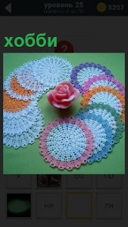 На фото показаны кружевные плетения и по центру стоит роза, занятие для хобби крючком