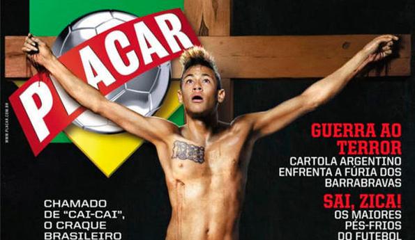 Neymar aparece en revista crucificado en una cruz