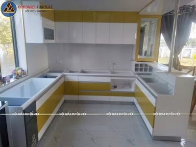Mẫu tủ bếp đẹp có quầy bar nhà anh Nhất - Đông Nai vừa hoàn thiện xong